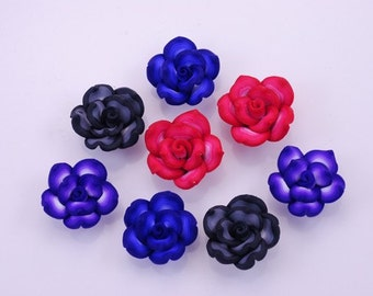 Handmade Fimo polymer clay colorful Rose bead Set of 8 pcs FM759