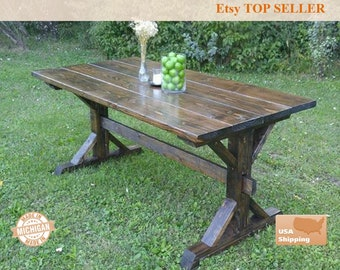 Farmhouse Table, Farm House Trestle Table, Dark Farm House Table, Kitchen  Table,
