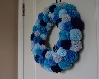Hues of Blue Pom Pom Wreath