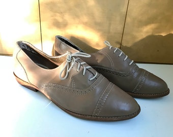 Taupe Vintage Lace Up Oxfords Cap Toe Shoes