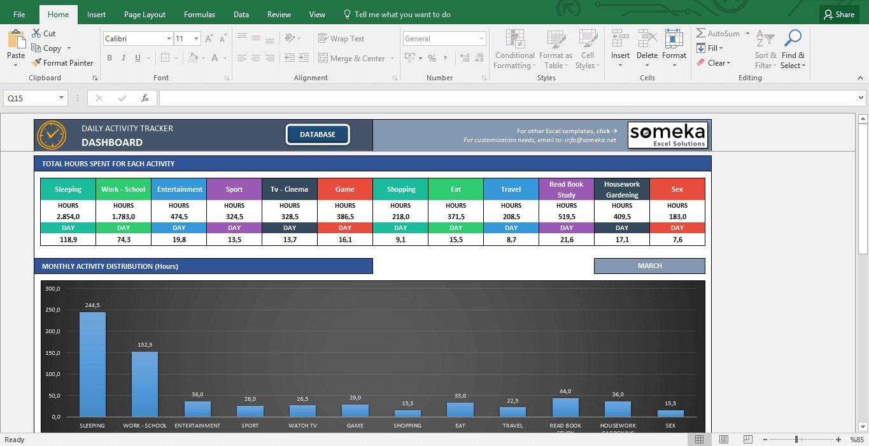 Actividad Tracker Excel para imprimir plantilla para planes