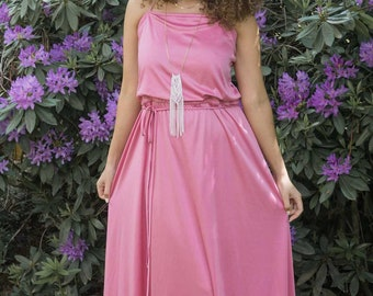 70s, Blush Pink, Maxi Dress // 1970s, Disco, Evening Gown, Women Size Large, X Large