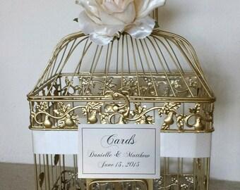 Large Gold Bird Cage-Wedding card holder
