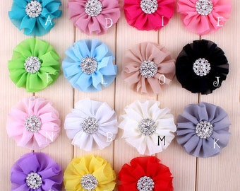 6.5cm 15colors Artificial Chiffon Flowers + Rhinestone Button For Girl Hair Accessories Fabric Flowers For Headbands