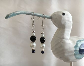 navy, black, white and silver bead earrings