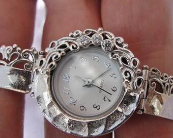 NEW Israel Original Handmade Fine Silver CZ Bracelet Watch (s w224)