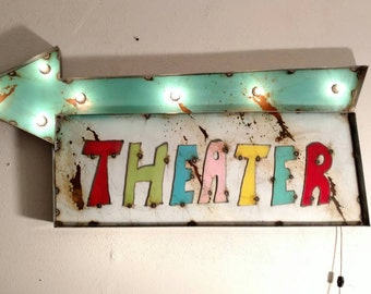 home THEATER Sign - cinema marquee -  theater decor -