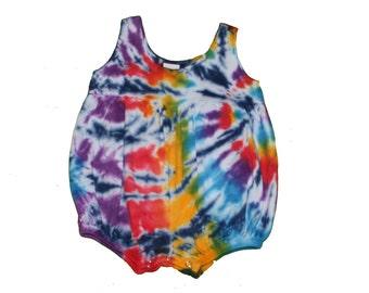 Rainbow Romper in Rainbow Tie Dye with Navy Accents-Baby Girl Romper- Tie Dye Romper