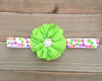 Neon Green Floral & Pink Polka Dot Headband Baby Girl Shower Gift Flowergirl Flower girl accessory Baby Accessories Bridesmaid Headband