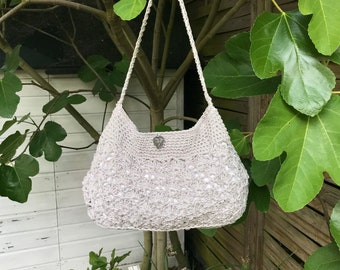 Hand bag in linen and cotton bag silver gray crocheted purse, handbag was hand made bag