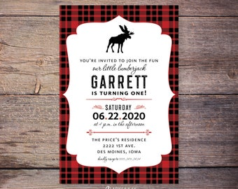 Flannel Up for some Fun lumberjack first birthday invitations, flannel birthday party invite, moose, plaid birthday, lumberjack birthday