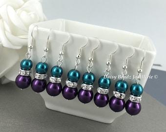 Dark Purple and Teal Earrings Pearl Earrings Teal Earrings Bridesmaid Gifts Bridal Earrings  for Bridal