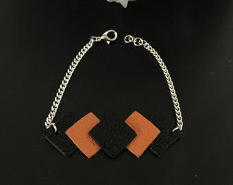 orange Black Leather silver bracelet 17cm