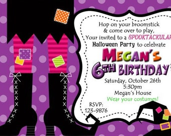 Witch Feet Halloween Costume Birthday Party Invitation Digital 4x6 or 5x7