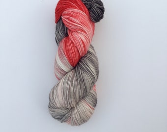 Cloudy with a chance of fire engines - hand-dyed 4ply sock yarn - 100g