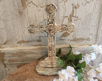 Vintage Cross, Vintage Metal Cross, Vintage Cast Iron Cross, Hand Painted Cross, Religious Home Decor