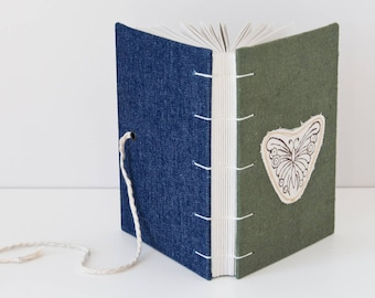 Butterfly Journal - A6 Notebook Journal with 144 Blank Pages Coptic Binding - Great Gift for Her