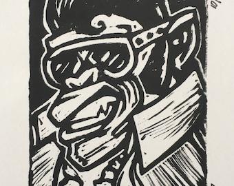 King of Surf (Malibu's Surf Shop) Linocut Print