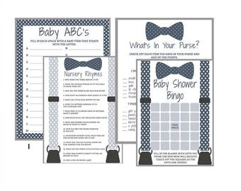 Little Man Game Set, Bowtie Baby Shower, 4 Games, Printable, Instant Download, Baby Boy, Blue White Gray Polka Dot