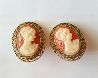 cameo . chunky clip-on earrings