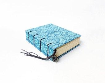 Aqua Blue Floral - Small Coptic Bound Journal, Notebook, Sketchbook