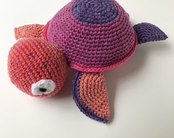 "Stuffed animal- Ready to Ship- Amigurumi ""Peaches"" sea turtle"