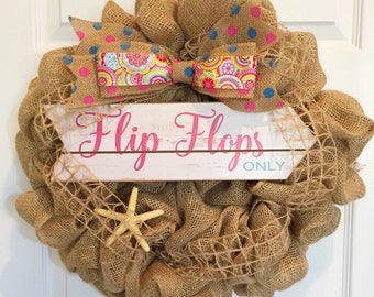 Summer Flip Flops Burlap Wreath