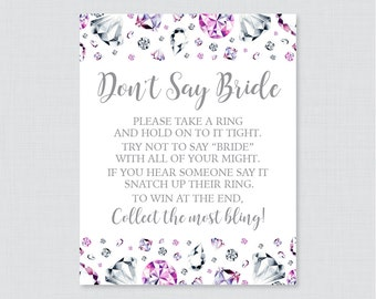 Diamond Don't Say Bride Printable Sign - Pink and Silver Diamonds Bridal Shower Don't Say Wedding Sign - Wedding Shower Game Sign - 0023