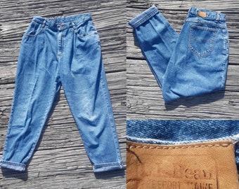 Vintage 90s jeans, vintage 90s mom jeans, high rise jeans, tapered leg jeans, vintage l.l. bean jeans