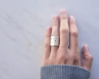 Wide ring, Constellation ring, Sterling silver ring, statement ring, contemporary ring, minimalist ring, minimalistic