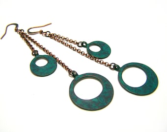Patina Green and Copper Circle Charm Long Chain Dangle Earrings / Gift for Her