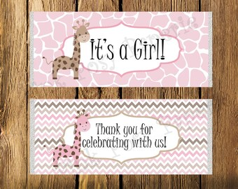 Printable Pink Giraffe Girl Baby Shower Large Candy Bar Wrappers - Instant Download