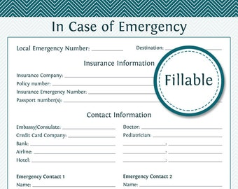 Travel Planner: In Case of Emergency - Fillable - Instant Download - Printable PDF  - Vacation Planner