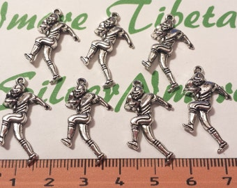 16 pcs per pack 28x14mm One side Football Player Charm Antique Silver Finish Lead Free Pewter