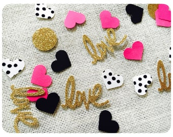 Kate Spade Inspired Confetti, Kate Spade Inspired Bridal Confetti, Kate Spade Inspired Baby Shower, Black, Pink, and Gold Confetti, 110ct