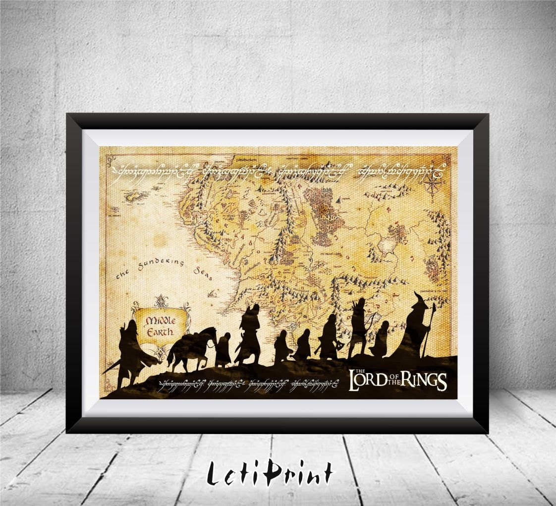 Lord of the Rings Print Middle Earth Print Middle Earth Map