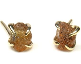 Uncut rough Yellow Sapphire , Aquamarine,Ruby,,Peridot, Cubic Zirconia earrings,gold stud style,organic shape