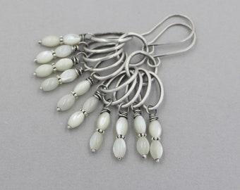 White Mother of Pearl Shell Dangle Earrings, Sterling Silver, Artisan, Handmade, Wedding, Summer, Chandelier Earrings, Funky Boho, Long