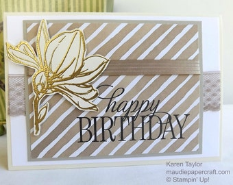 Hand stamped and heat embossed birthday card in neutral colours, with lace and ribbon embellishment