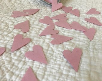 100 Pink Recycled Paper Hearts for Valentine's Day Table Decoration, Altered Art, Scrapbooking, Wedding, Gifts