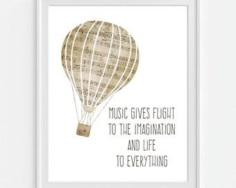 Hot Air Balloon Art Print, Music Art, Sheet Music Print, Music Quote, Music Teacher Gift, Music Wall Art, Childrens Room Decor