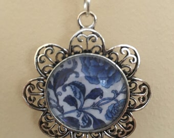 Blooming Blue Glass Tile Necklace