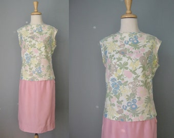 2 Piece dress / Vtg Early 60s / Century of Boston Floral Sleeveless Top and Pink Skirt