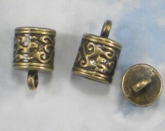 10 End Caps Scroll Vines Bronze Tone Round Tube Terminators 6mm Glue In Cap (P1442)