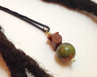 Unakite Brown Goldstone Hair Pin Bead Jewelry Locs, Dreadlocks, Braids and Twists