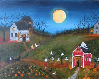 Halloween painting, TRICK or Treat,  folk art painting,  Ghosts Pumpkins Witches Original