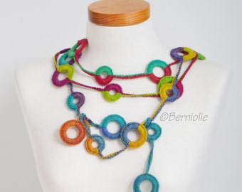 Crochet circle necklace, rainbow colors, N389