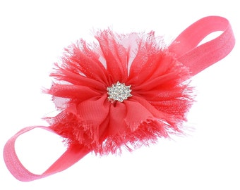 Coral Baby Frayed Ballerina Flower Headband