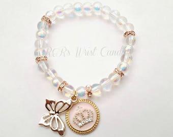 Princess Butterfly Charm Bracelet, Girls Bracelets, Stretchy, Pink, Stocking Stuffers, Handmade Custom Beaded Jewelry
