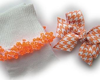 Kathy's Beaded Socks - Orange Glitter Houndstooth Socks and Hairbow, school socks, orange socks, houndstooth socks, glitter socks